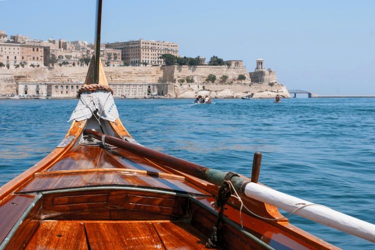 View of Valletta  from prow of the boat